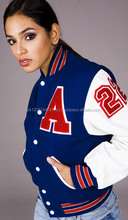 varsity letterman college baseball wool jackets with genuine cow leather sleeves