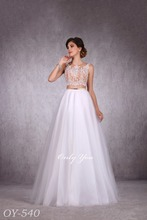 Trendy Wedding Gown Nude Beaded Top and Skirt See-Through Back Can be Customized Lux Tulle Skirt Golden Belt