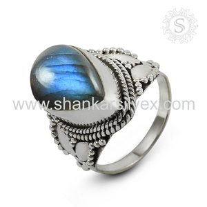 2017 Best Gift For Ladies Gemstone Jewelry Labradorite Ring Handmade Silver Jewelry 925 Silver Ring