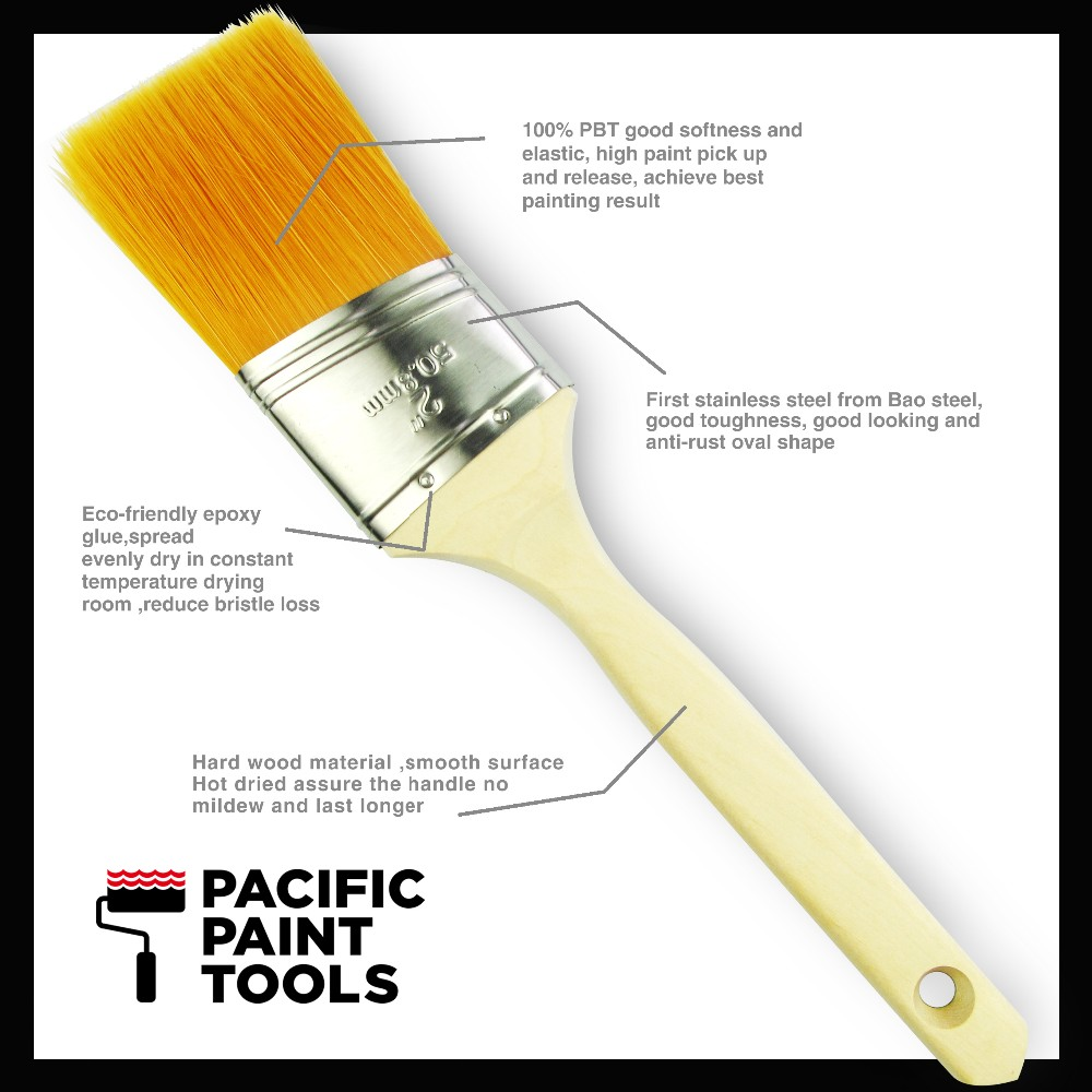 Pacificpaint tools(PPT) Anti-rust oval shape ferrule soft 100% PBT paint brush