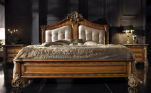 luxury Bedroom Furniture , Italy carved Wooden Bed sets , French style Modern wooden bedroom beds