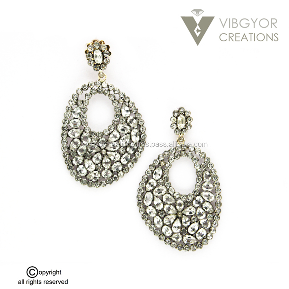 Wholesale handmade 14K gold color stone 92.5 sterling diamond earring jewelry