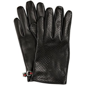 Black genuine leather driving gloves
