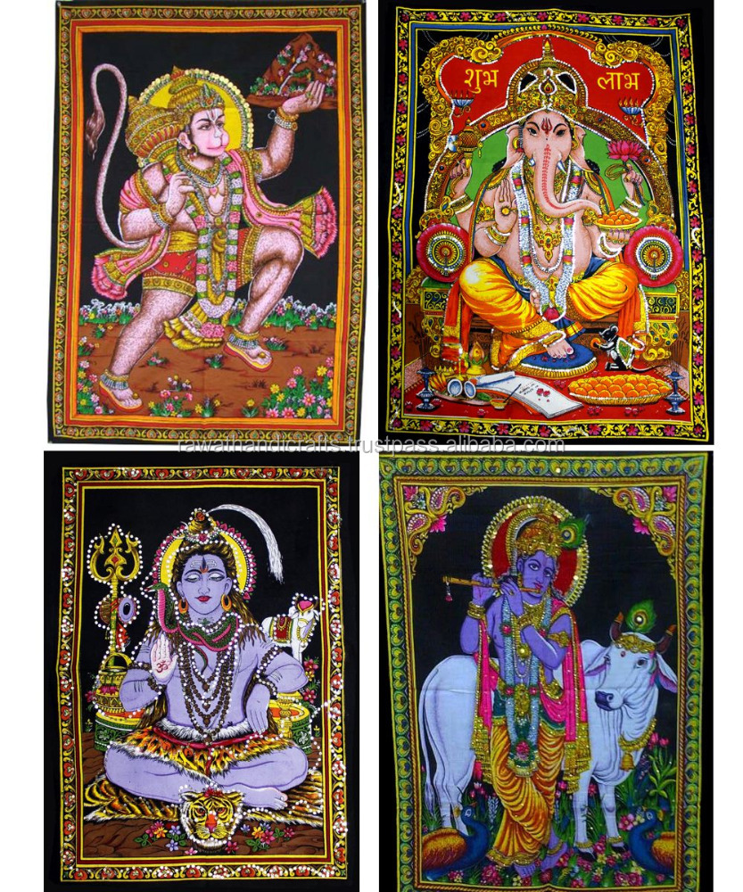 50pcs Indian Gods & Goddess Sitara Batik Cotton Wall Hangings Wholesale lot (Large) WH-205