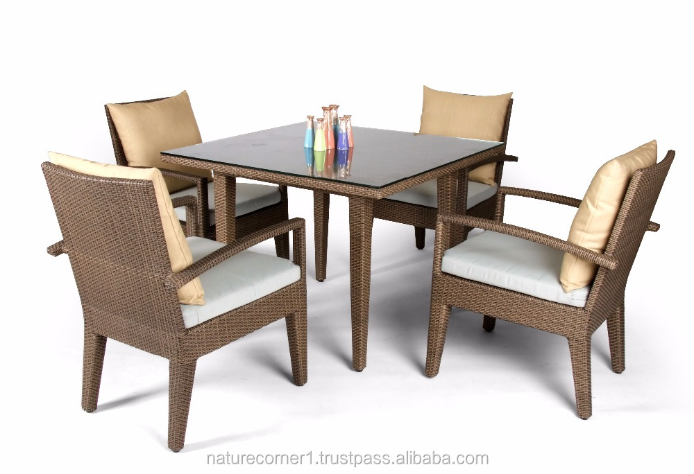 Home furniture rattan dining room sets square table