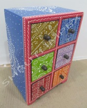 WOODEN HAND CRAFTED BOX WITH SIX CHEST DRAWRS & MULTI COLOR FOR HOME DECOR AND GIFT SIB-4B