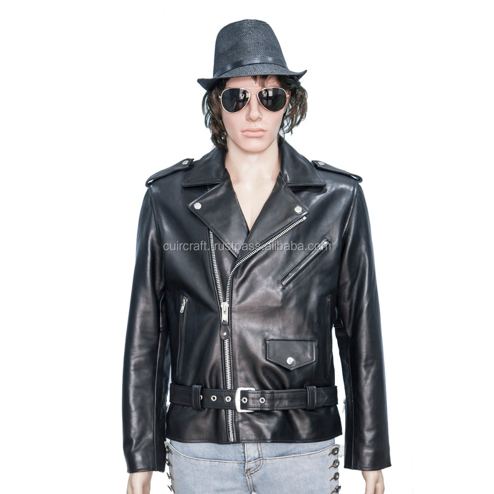 Men Brando Slim fit leather jacket all size available