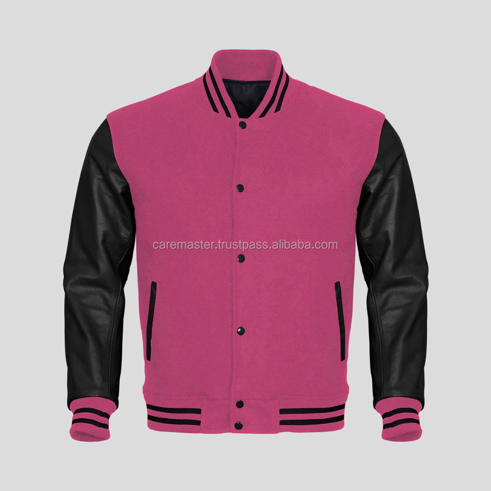 varsity jacket with artificial leather sleeve