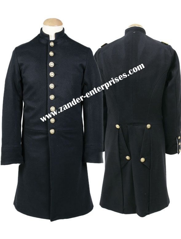 Civil war Confederate Infantry Officers Single Breasted Black Frock Coat