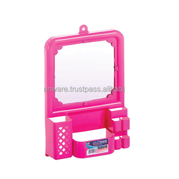 Plastic Folding Bathroom Mirror with Glass Shelf
