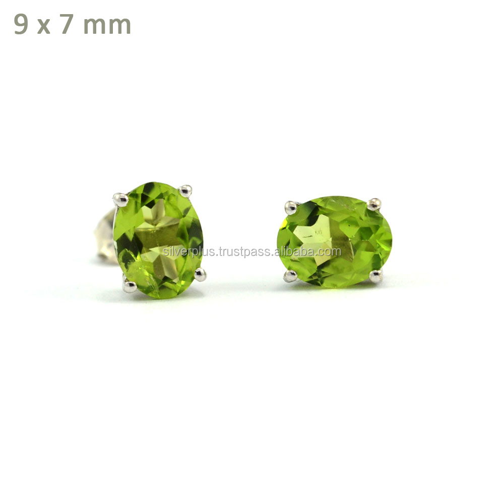 925 Sterling Silver 7x9 mm Natural Peridot Oval Stud Earrings