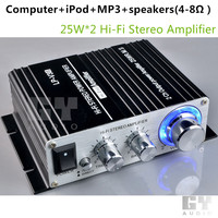 HIFI delayed protection amplifier for Computer iPod MP3,LP V3S Black 25Wx2 amplifier