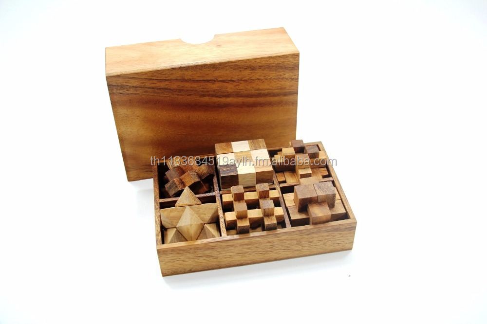 Set of 4 Wooden Game and Toys-Classic Wooden Games and Toys,Interlocking Puzzles,Brain Teasers,Crafted Jigsaws-collectibles