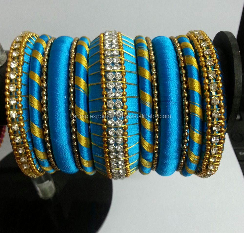Turquoise thread bangle set, Exclusive Thread Fashion Bangles Bracelets/Girls Trendy Bangles