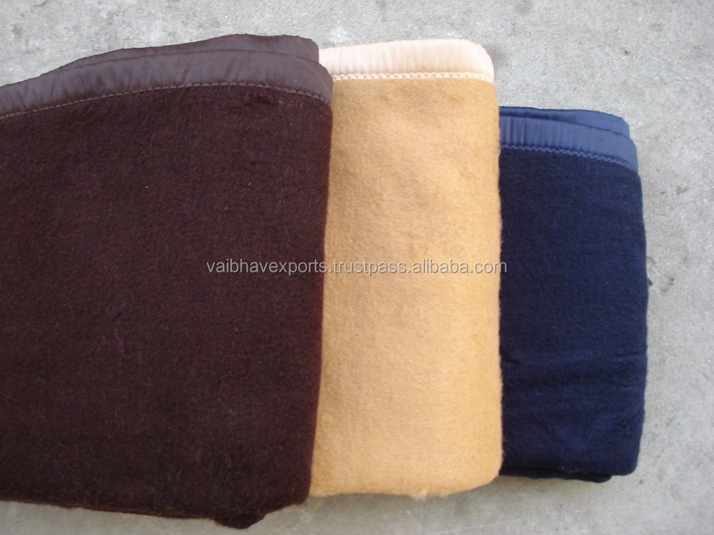 50 % Acrylic 50 %Polyester Military Blankets in Olive Green, Navy Blue, Brown, Camel Colors
