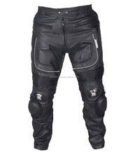Black Motorcycle Pant/ Motorbike Leather PANT / Trousers + CE Armour to knee & hips