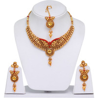 Wholesale Wedding Wear Stone Studded Mango Design Gold Necklace for Women