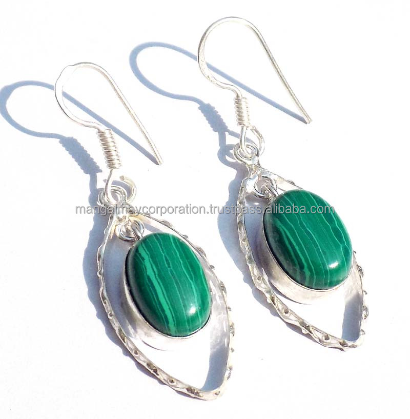 made in india Malachite gemstone silver plated earring New designer jewelry