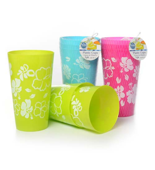 Plastic Cup 3pc, 3 Color Asst per CS.