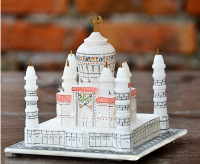 "4""x4"" White Marble Color Taj Mahal Replica Symbol of Love Room decor beautiful Art Gifts H2401B"
