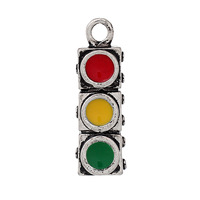 "Charm Pendants Rectangle Antique Silver Red + Green Enamel Traffic lights 25.0mm(1"") x 8.0mm( 3/8""), 10 PCs"