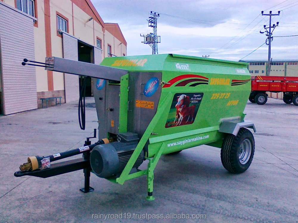PELLET MILL HORIZANTAL AUGER ( WITH OIL TANK AND BACK LOADER ) 4m3 ELECTRIC POWERED FEED MIXER WAGON