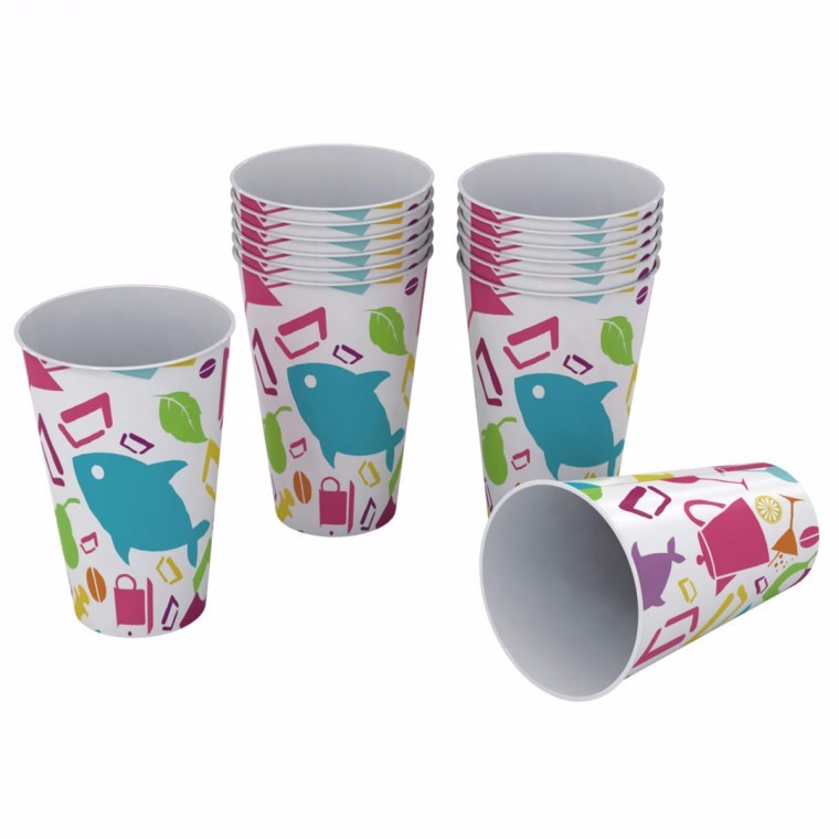 Plastic Cups with Design 12 Oz