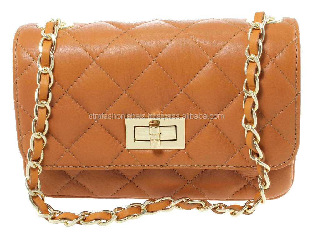 Made in Italy clutch bag in genuine leather quilted matelasse tan