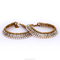 Wholesale Double Line Crystal Payal Design Beautiful Indian Anklets