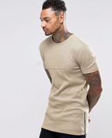 Super Longline Long Sleeve Men Wholesale Custom T-Shirts With Zipper