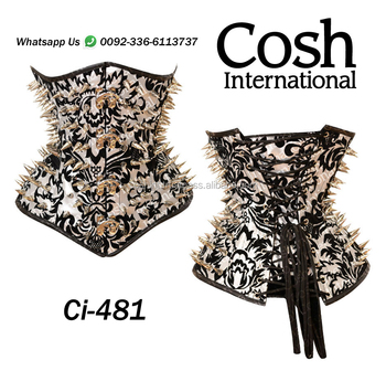 Ci-481 Black Fetish Brocade Steelboned Waist Training Corset Supplier