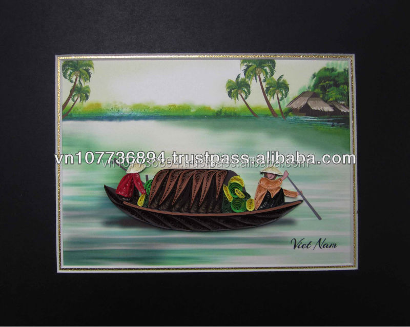 Boat on river picture handmade