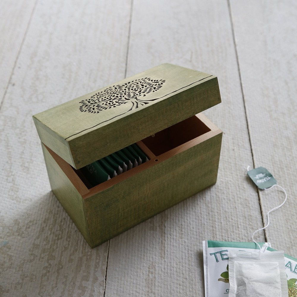 Wooden Tea Storage Box Compact Organizer Handcrafted with Embossed Tree Of Life Design