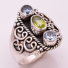 925 Silver Ring Natural Peridot Blue