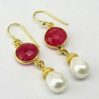 Best Trend !! White Pearl_Red Dyed Ruby 925 Sterling Silver Earring, Beautiful Silver Jewelry, Natural Gemstone Silver Jewelry