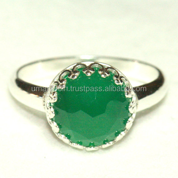 Green Onyx Sterling Silver Crown Ring