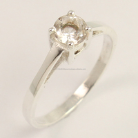 925 Sterling Silver Jewellery Natural CRYSTAL QUARTZ Gemstone Round Ring Size