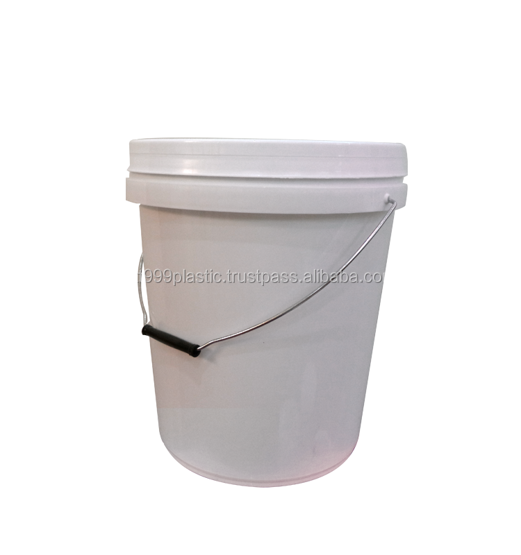 18L or 5 gallon PP plastic pail with metal handle and lid