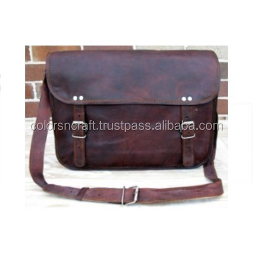 Vintage Goat Leather Messenger Bag For Men