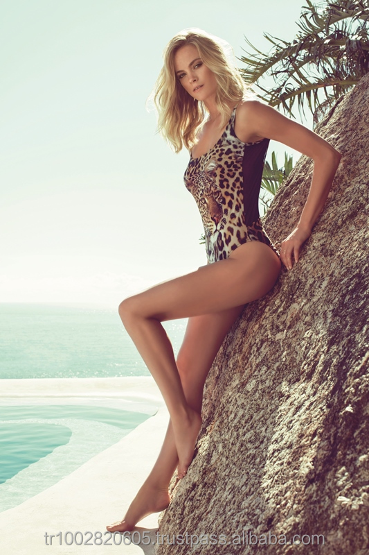 MY.7053 Leopard brown Sexy Swimsuit One Piece plunge