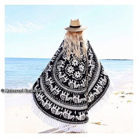 Hippie Tapestry Indian Mandala Tapestry Hippy Boho Bedspreads Beach Throw Round Tapestry Roundie