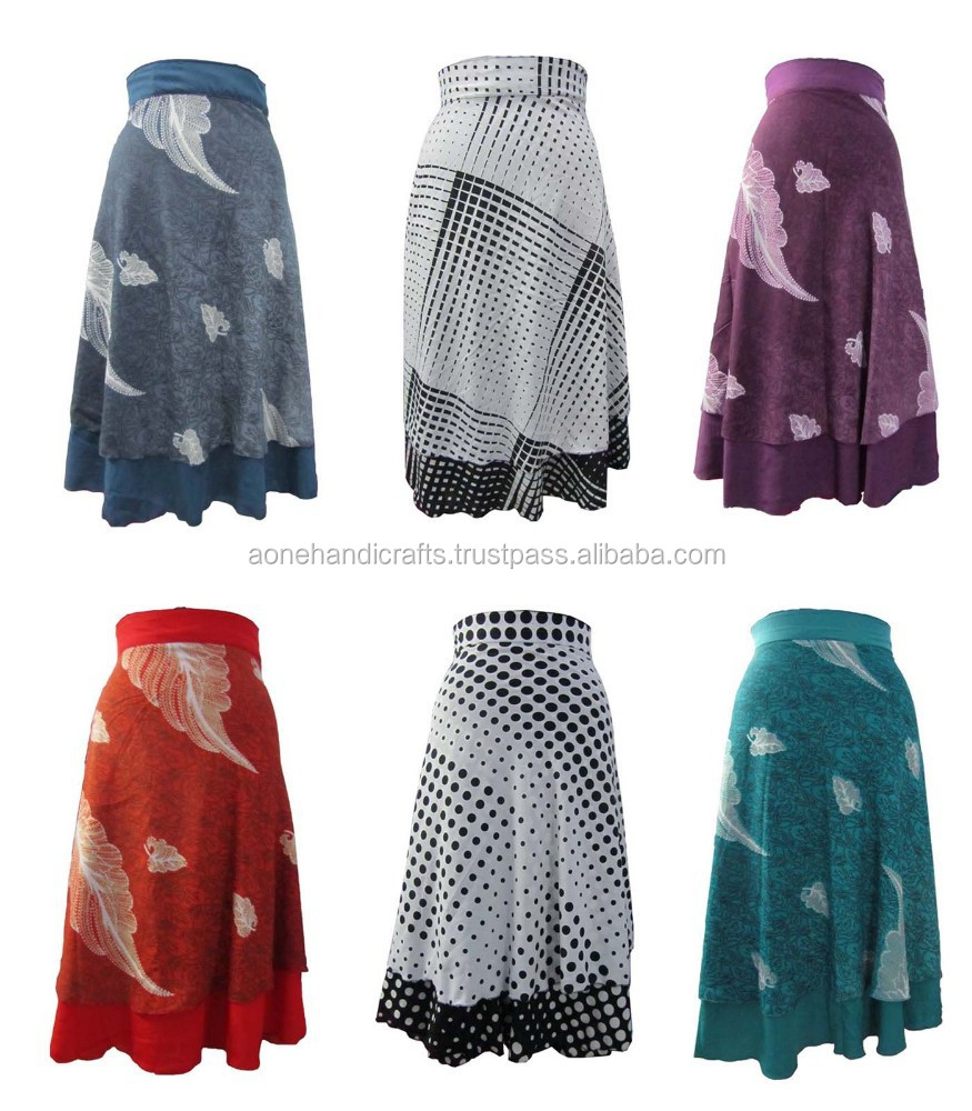 ladies wrap around printed polyester fabeic indian magic wrap skirt