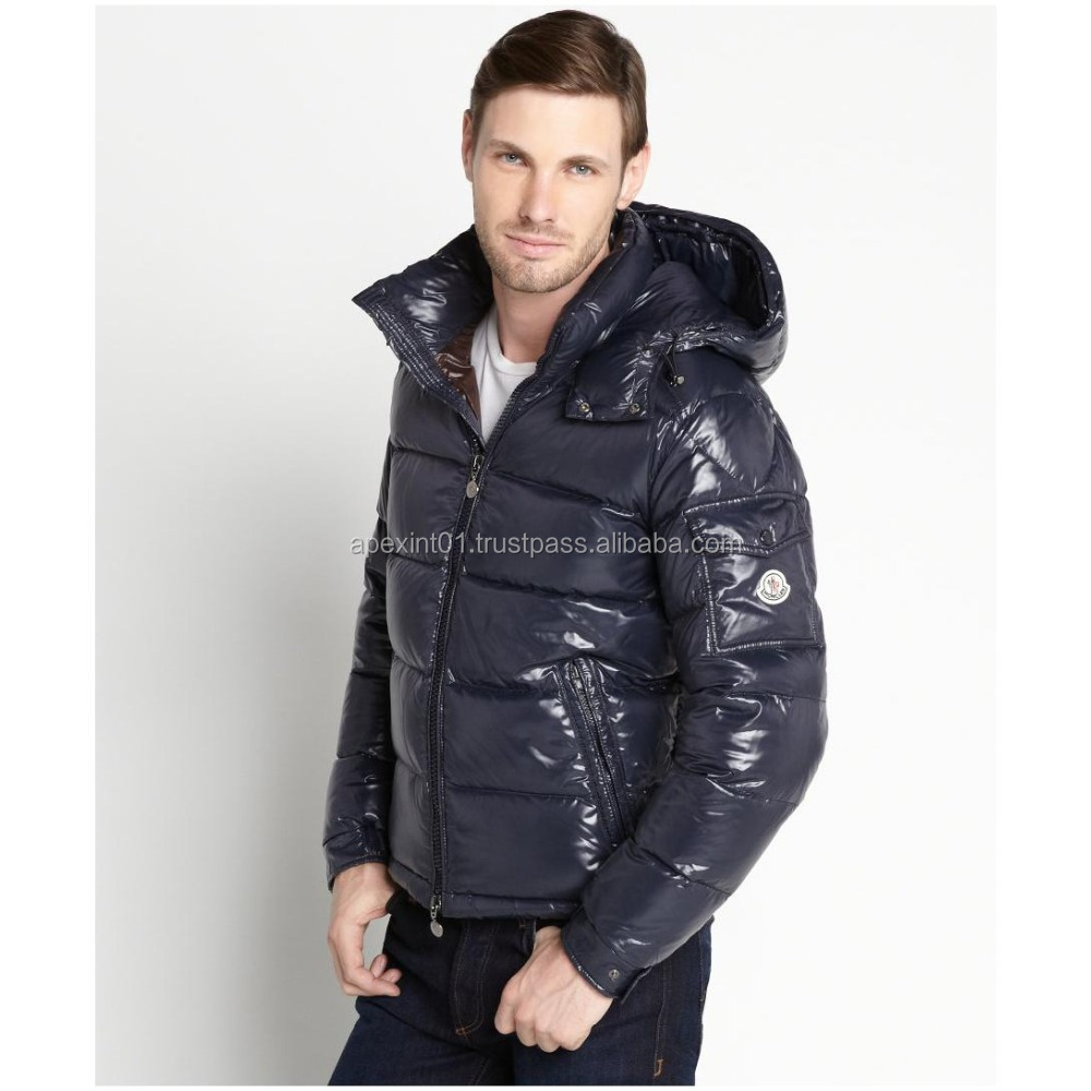 Mens Quilted Down Feather Leather Puffers Jacket