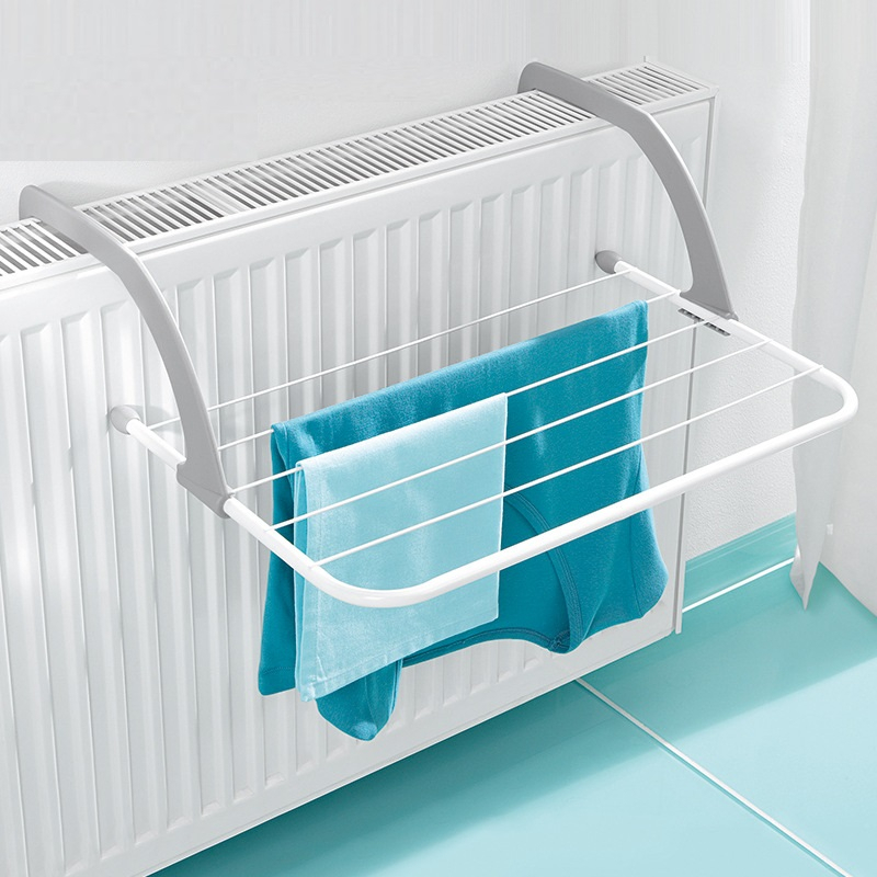 Metal Folding Clothes Rack In a Balcony Room Bathroom Towel Rack Clothes Hanger