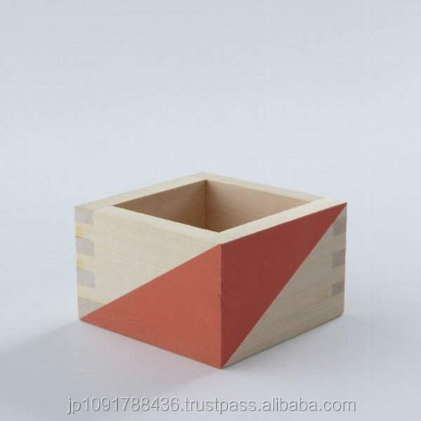 Tasteful Japanese traditional craft colorful Sake cup with pleasant scent of Hinoki