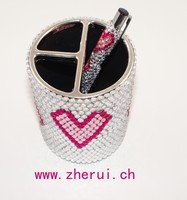 new design bling rhinestone pen holder for office and school supplies