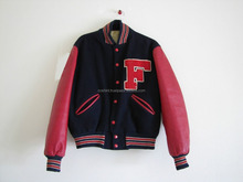 black wool body with pink leather sleeves varsity jacket supplier