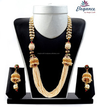 Indian one gram gold plated jewellery - Wholesale pearl jewelry - Artificial pearl jewelry - Traditional party wear set