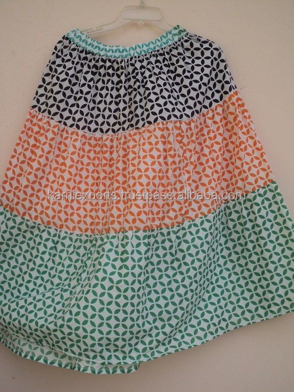 multi layer long skirts elasticated waist for womens / supplier of womens skirts in india/ manufacturers of skirts in jaipur