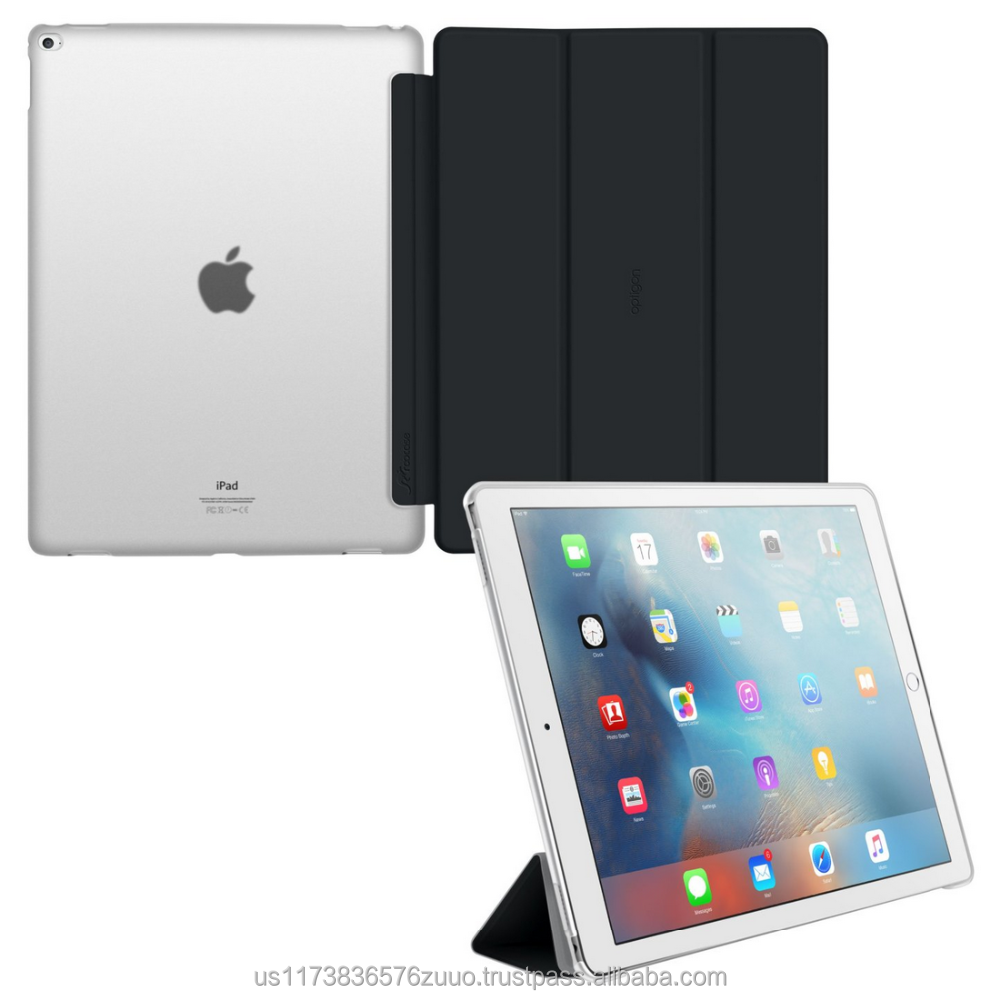 Ultra Slim Lightweight Smart Cover PC Shell Clear Case Magnetic Auto Sleep Wake for iPad Pro 12.9 roocase Optigon (black)